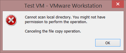 VMware Workstation: Cannot scan local directory error | Mike's Blog