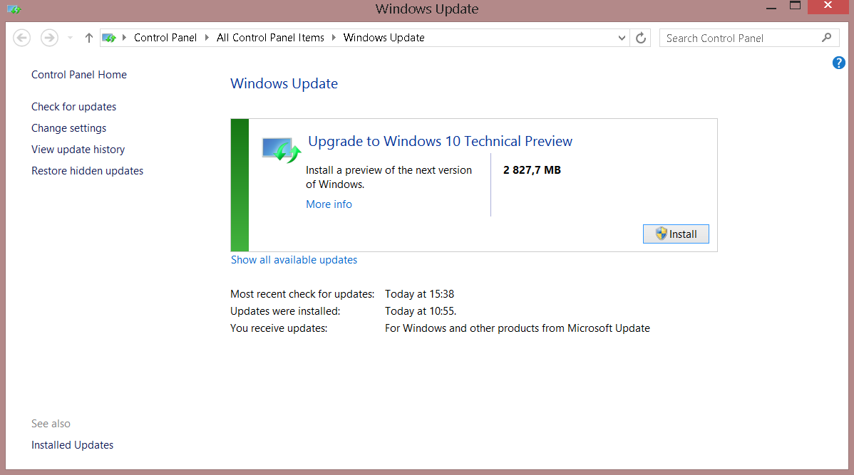 Windows 10 TP Update