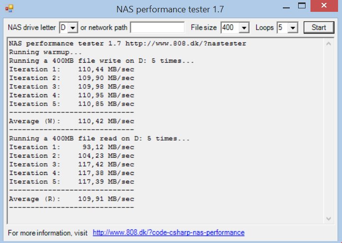 NAS Performance Tester 400MB no digests