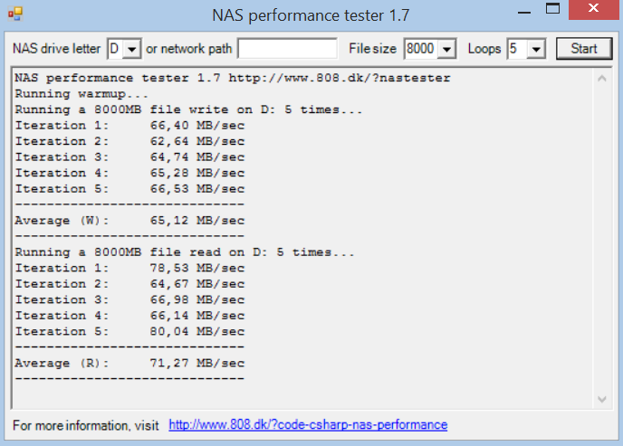 NAS Performance Tester 8GB no digests