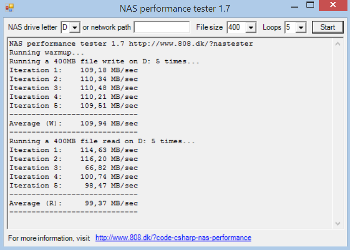 NAS Performance Tester