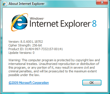IE8 About