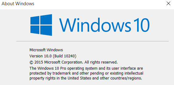 Windows 10 RTM build
