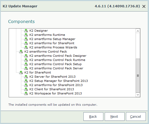 K2 4.6.11 Update Manager