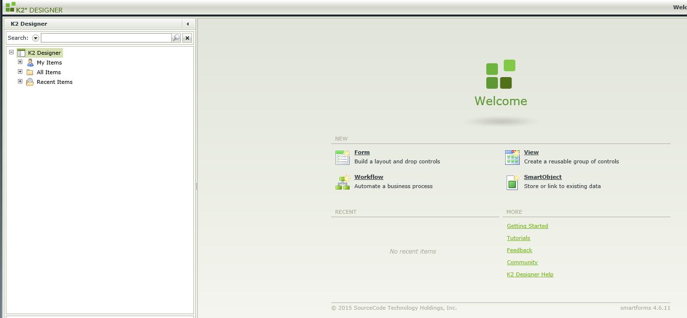 K2 4.6.11 designer start page