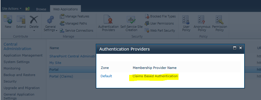 SP 2010 check web app authentication mode 02