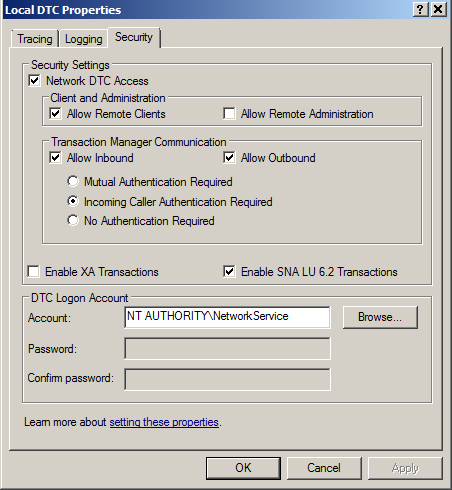 MSDTC Network Access 2 Correct Settings