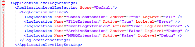 K2 ApplicationLevelLogSettings section