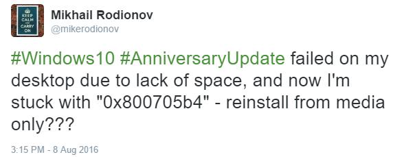AnniversaryUpdate Error