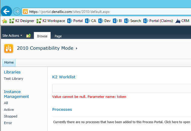 K2 - Value cannot be null for SP 2010 Compatibilty mode site