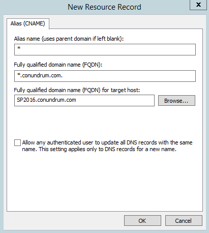 K2 - App Catalog Wildcard CNAME entry in existing domain