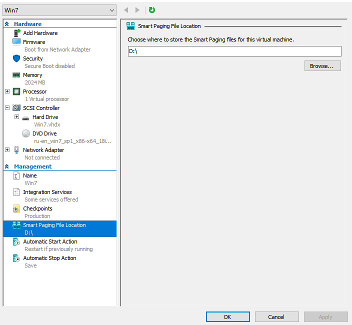 Hyper-V Smart Paging files location