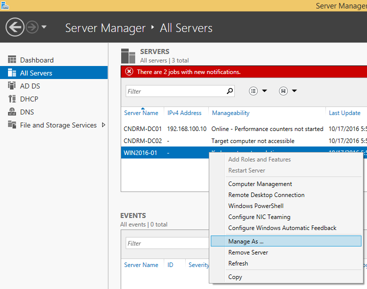 Server Manager - Manage As