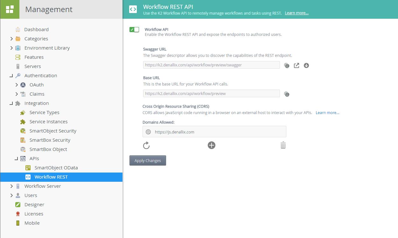 Workflow REST API Settings